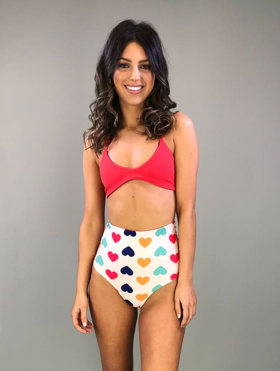 High waisted reversible cheeky bikini bottoms pink hearts to red size small