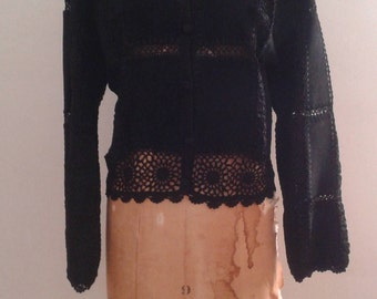 Vintage 1990's Scully Black Suede Crocheted Patchwork Jacket Cardigan Sz 8 Hippie Boho Festival