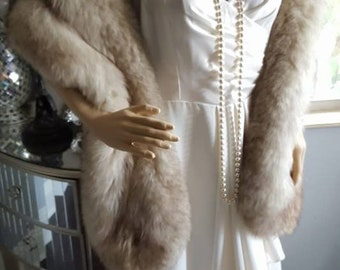 RESERVED / SOLD Luxury Vintage FOX Fur Stole  Genuine Norwegian Fur Stole - Shawl - Fling - Cape -Wrap  - Gatsby Fur Winter Wedding  Bridal