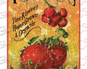 Digital Download Vintage Home Grown Tomatoes Sign Print Country Farmhouse Printable Garden Tomatoes Country Folk Art Vine Ripened Tomato