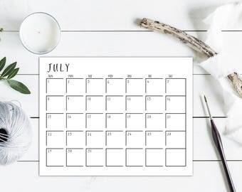 2018 Calendar Printable, INSTANT DOWNLOAD Desk Calendar Wall Calendar,Monthly Planner, Monthly Calendar 2018 Printable, Minimalist Calendar