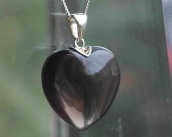 Vintage Solid Sterling Silver Smokey Quartz Heart Pendant / Necklace