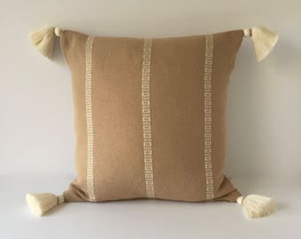 """Decorative Accent Pillow With Tassels - Beige Pillow - Woven Pillow Cover  18"""" x 18"""""""
