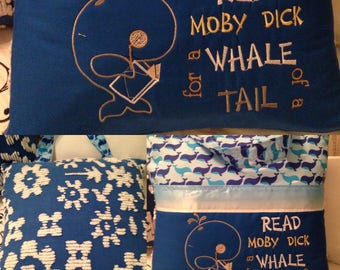 Pocket pillow whale reading pillow vintage chenille childs reading pillow whale fabric handle book moby dick read quote zip close blue satin