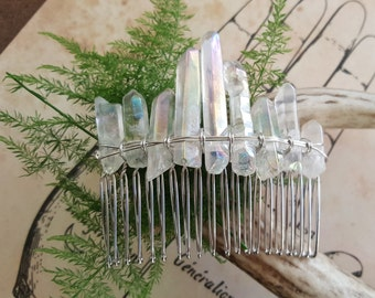 Angel Aura Quartz Gemstone Hair Comb, boho bridal headpiece, fairytale gift, wedding hair comb, mermaid hair accessories, goddess, festival