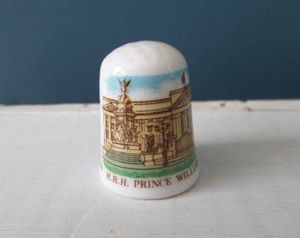 "Porcelain Thimble, HRH Prince William Arthur Christening, English Bone China, Made in England, Excellent Condition, 1"" x 0.75"", Circa 1980"