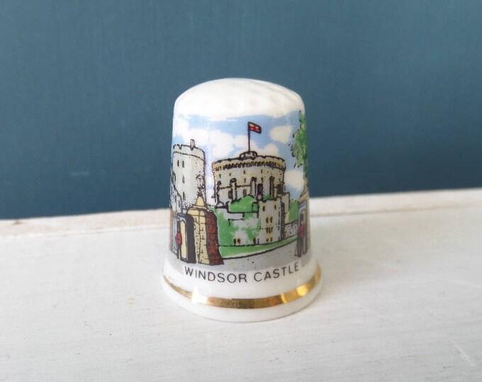 "Porcelain Thimble, Windsor Castle, Bone China, Made in England, Excellent Condition, 1"" x 0.75"", Circa 1980, English Royal Homes Souvenir"
