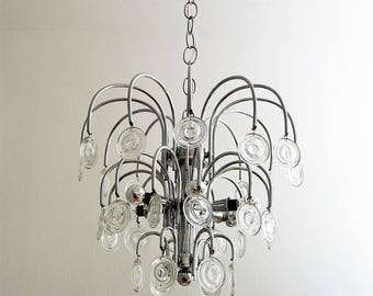 Italian Vintage Chrome and Glass CHANDELIER with 6 lights, 1970s
