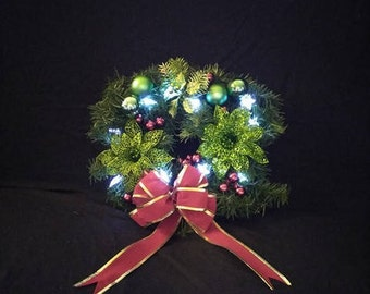 Light-Up Christmas Wreath-Indoor/Outdoor Wreath- Green And Red Christmas Wreath