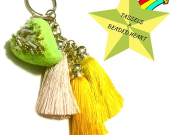 Tri Tassel Key Ring, Beaded Heart Key Ring, Tassels and Heart Dangle, Beaded Heart Bag Charm, Unique Gift,Unique Key Ring, Sweetheart Gift,