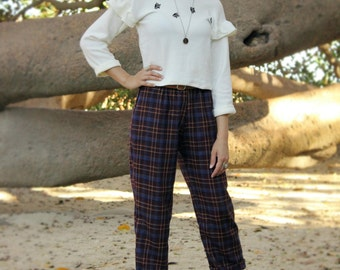 Tartan Pants - Culottes in Wool - 3/4 Pants in Wool Tartan - Soft and Wide Pants - Elastic Waist Band Pants - Wool Cozy Pants