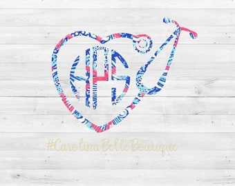Lilly Pulitzer Monogram Nurse Decal//Monogram Stethoscope Decal//Monogram Nurse Sticker//Lilly Decal