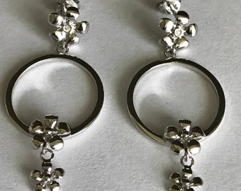 Sterling Silver Hot Diamonds Drop Flower Earrings