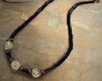 Necklace/Handmade/Onyx/Citrine/Copper/Gemstones/Contemporary/Choker/Single Strand