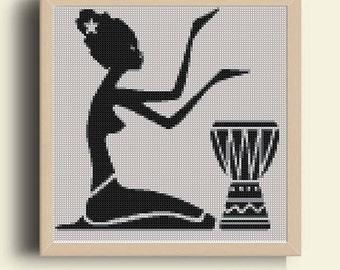 Cross Stitch Pattern, Modern Cross Stitch, black  LADY cross stitch chart - Instant download PDF