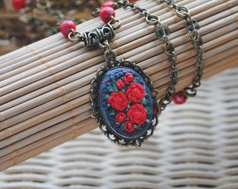 bohemian necklace pendant red roses necklace gift for women Hand Embroidery art Serpentine necklace stone jewelry Red necklace gift for wife