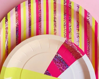 Lemon Slice Small Paper Plates - yellow hot pink and sparkle foil - holographic cake birthday party shower first spring easter bachelorette