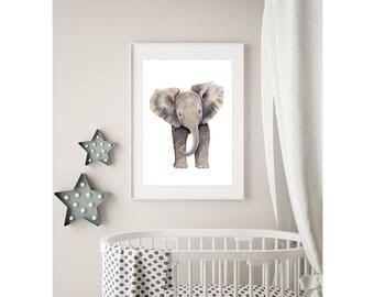 Baby Elephant Nursery Art, Safari Nursery Animal Print, Gender Neutral Baby Gift Idea, Watercolor Elephant Wall Decor for Boy or Girl Room