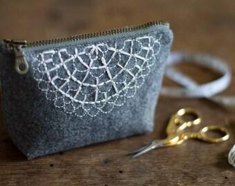 Zippered Pouch | Zipper Pouch | Zipper bag | Small Zippered Bag | Hand Embroidered Pouch