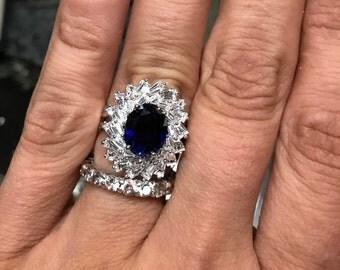 Vera Wang Sterling Silver Sapphire Swirl Ring