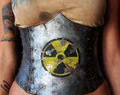 Underbust post apocalyptic Corset/Cincher. woman Armor. fake metal, EVA foam. costume/clothing mad max wasteland LARP. Nuclear hazard symbol