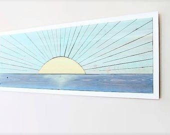 Reclaimed Wood Wall Art, Sunrise Wood Art, Beach Wood, Cottage Chic Art, Coastal Wood Wall, Turquoise Wood, Sunset Wood, Wood Wall Art