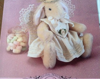 Angelica-An Angel of a Bunny, bunny with angel wings, bunny with halo, seated bunny, Gooseberry Hill bunny pattern, vintage pattern,