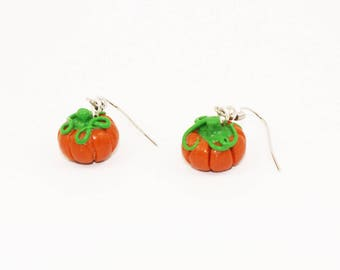 Halloween Pumpkin - Silver earrings hand made polymer clay pumpkin - Costume