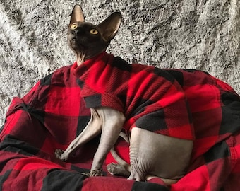 PLAID RED FLEECE Comfy Cat Shirt Your Choice Sleeveless or With Cuff & Collar Costume Pajama Sphynx Cat Clothes all breeds