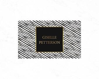 Custom business card design: Luxury black striped business card design