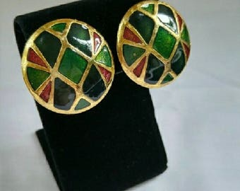 Vintage Enamel Cloisonne Stained Glass Earrings Circa 1980