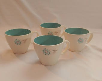 1960s Teal Flower Teacup Set of 4