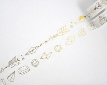 Gold Geometric Arrows Washi Tape, Gold Foil Washi Tape - WT465