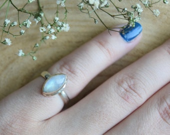 Moonstone Ring, Sterling Silver Ring, Boho Rings, Size 6.5 ring, Gift for women, Moonstone Jewelry, Gemstone Ring,Handmade Jewelry,moonstone
