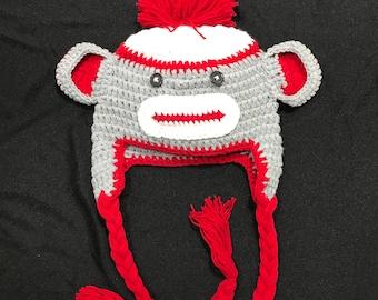 Monkey hat, Monkey beanie, Monkey Crochet hat, Monkey crochet beanie, Sock Monkey bat,Sock Monkey beanie