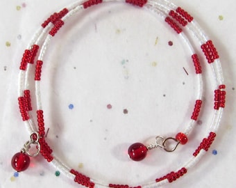 Red & White Seeded Bead Memory Wire Bracelet, Disability Wrap Bracelet, School Colors Jewelry, School Athletics Gift