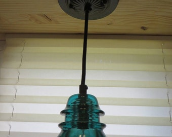 "Insulator Pendant Light, Hammered Black Metal Paint Finish, Adjustable To 54"" Long, Glass Antique Insulator Light, Hanging Lamp,  Aqua Green"