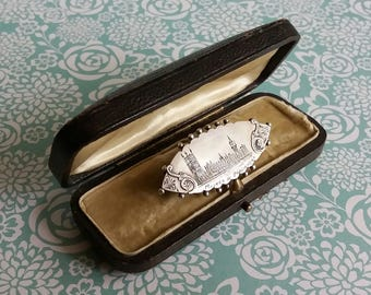 Rare Victorian 1897 Houses of Parliament Sterling Silver Brooch - Fully Hallmarked