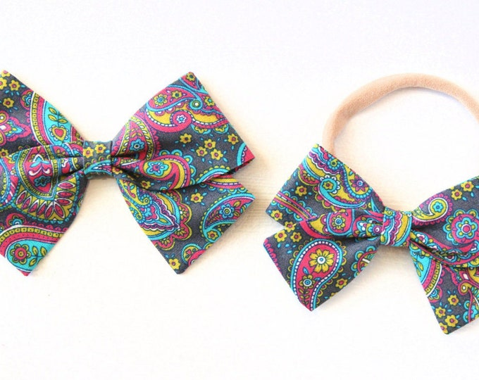 Paisley Bows - Hair Bows for Babies - Nylon Headbands and Hair Clips for Girls