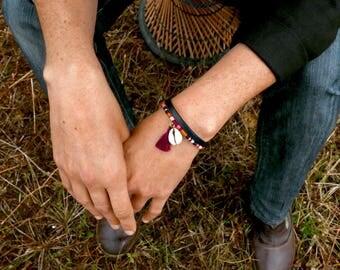 Boho bracelet, Women Gift, Leather & tassel bracelet, Tribal woven bracelet, Anniversary gift, Gift for her, Valentine gift, Ethnic jewelry