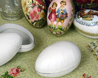 """Cardboard Egg Craft Box, White Paper Mache Egg Gift Container to Decorate - Made in Germany - 4-1/2"""" high"""