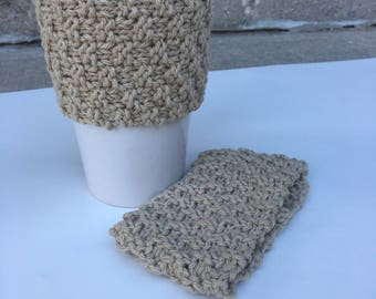 2 knit coffee sleeves, a pair of cotton coffee cozies, 2 reusable coffee cozies