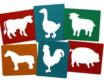 Farmyard Animal stencils Pack Of 6 Farm Animals Washable Painting and Drawing Stencils