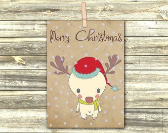 Christmas Cards, Christmas Party, Holiday Cards, Christmas Art Print, DIGITAL CARD, Printable Greeting Card, Merry Christmas Deer Cutie