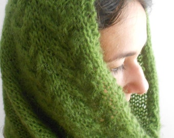 Veil scarf, Winter Light scarf, Hand knit moss green scarf, Mohair nechwarmer, Hand Knitted scarf, Dark red circle scarf