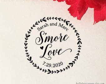 S'more Love Stamp, Personalized S'mores Wedding Favor Stamp, Custom Self Ink Stamp, Laurel Wreath, Eco Friendly Wooden Stamp, Rubber Stamp