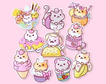 Sticker Set (10pcs) – Kawaii Yum Yum Cats Vinyl Stickers