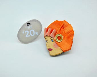 Handmade brooch, vintage, Art deco, Jazz Age, twenties, handmade, painted brooch, magnet, gift idea, birthday, made in Italy, refuse