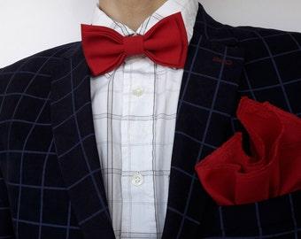 Red Bow Tie + Pocket Square Set Groomsmen set Bow Ties for Men Wedding bow tie Set Tie Pocket  Stylish bow tie Groom accessory Pocket Square