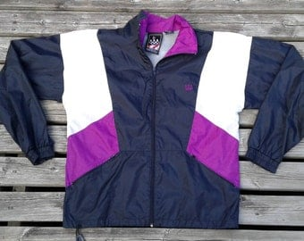 90' Vintage Team USA Olympics Purple White Black Windbreaker Size Small JC Penny